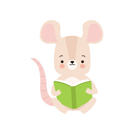 Cute Mouse Reading Book, Adorable Smart Animal Character Sitting with Book Vector Illustration Standard-Bild - 119237047