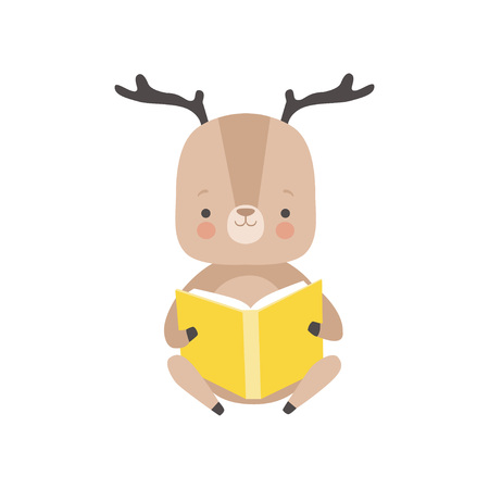 Cute Deer Reading Book, Adorable Smart Animal Character Sitting with Book Vector Illustration
