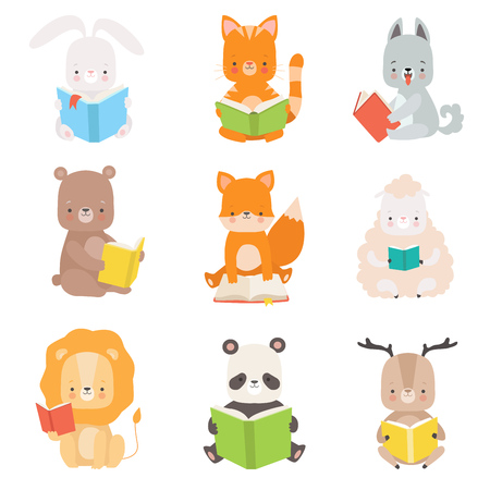 Cute Animals Characters Reading Books Set, Adorable Smart Cat, Panda Bear, Lion, Lamb, Fox, Wolf, Bunny, Deer Sitting with Books Vector Illustration Illustration