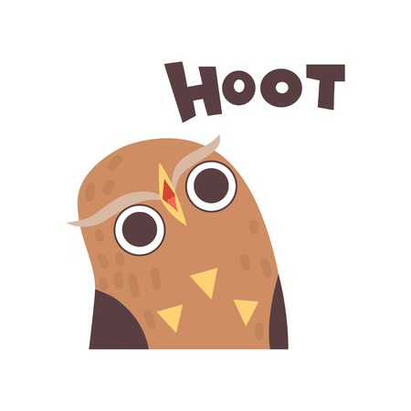 Cute Owl Hooting, Wild Cartoon Bird Making Sound Vector Illustration Illustration