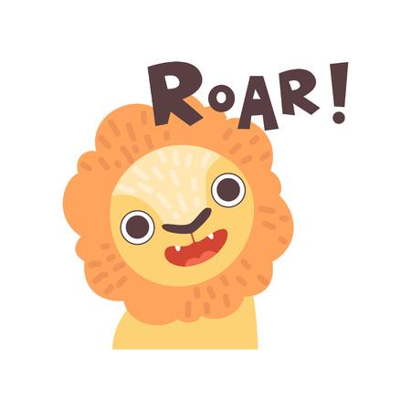 Lion Roaring, Cute Cartoon Animal Making Roar Sound Vector Illustration