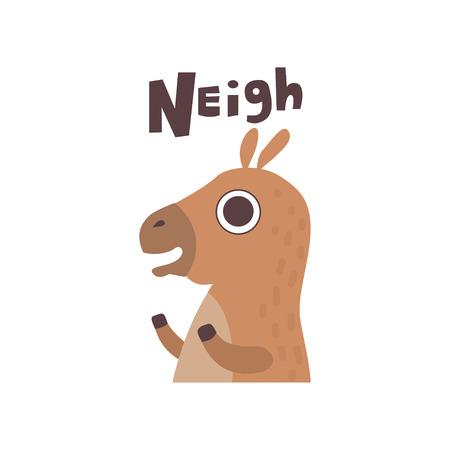 Cute Cartoon Horse Farm Animal Neighing Vector Illustration Illustration