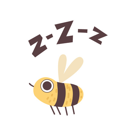 Cute Bee Buzzing, Funny Cartoon Insect Making Zzz Sound Vector Illustration