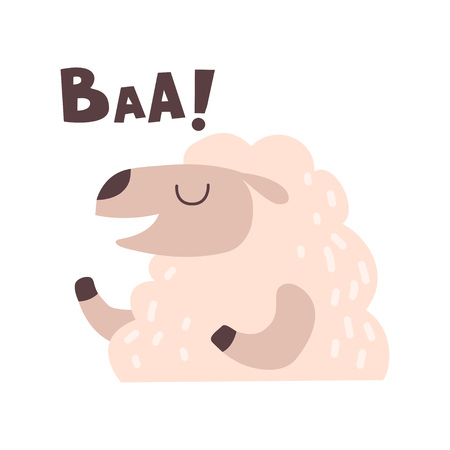 Sheep Bleating, Cute Cartoon Farm Animal Making Baa Sound Vector Illustration