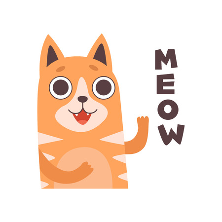 Red Cat Meowing, Cute Cartoon Pet Animal Making Sound Vector Illustration