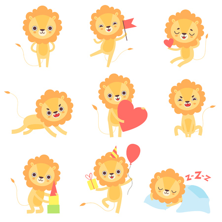 Cute Lion in Different Situations Set, Adorable African Animal Cartoon Character Vector Illustration Illustration