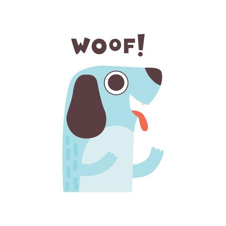 Cute Dog Woofing, Funny Cartoon Pet Animal Making Woof Sound Vector Illustration Illustration