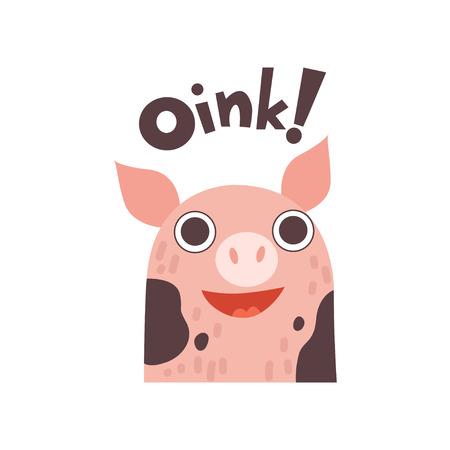 Animale da fattoria sveglio del fumetto del maiale che dice Oink Vector Illustration