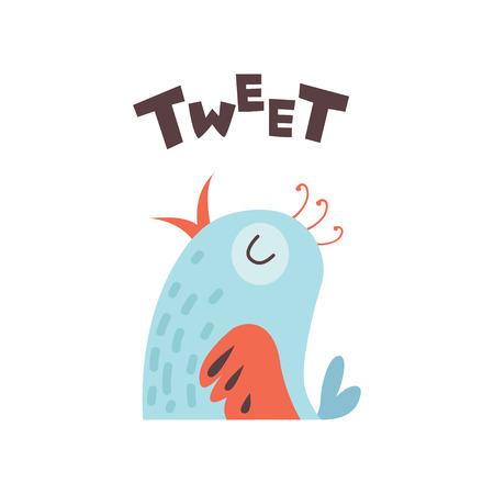 Cute Cartoon Little Bird Tweeting Vector Illustration