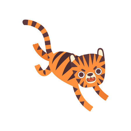 Cute Little Angry Tiger Roaring, Adorable Wild Animal Cartoon Character Vector Illustration