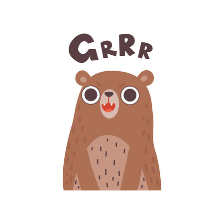 Cute Cartoon Bear Wild Animal Making Grrr Sound Vector Illustration