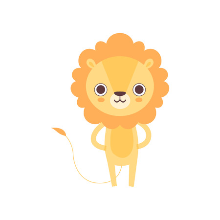 Cute Lion, Funny African Animal Cartoon Character Vector Illustration  イラスト・ベクター素材