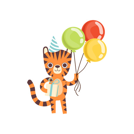 Cute Little Tiger in Party Hat Standing with Colorful Balloons and Gift Box, Adorable Wild Animal Cartoon Character Vector Illustration Illustration