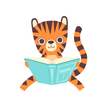 Cute Smart Little Tiger Sitting and Reading Book, Adorable Wild Animal Cartoon Character Vector Illustration  イラスト・ベクター素材