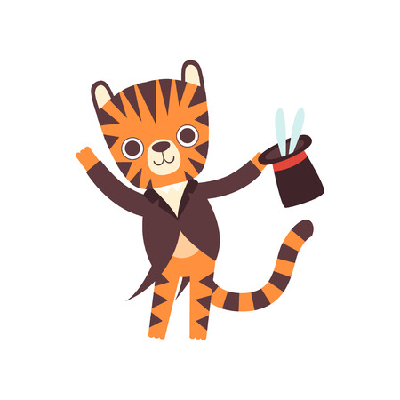 Cute Little Tiger Magician Performing his Trick with Rabbit Appearing from Magic Top Hat, Adorable Wild Animal Cartoon Character Vector Illustration