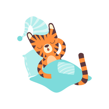Cute Little Tiger Wearing Cap Sleeping in Bed, Adorable Wild Animal Cartoon Character Vector Illustration