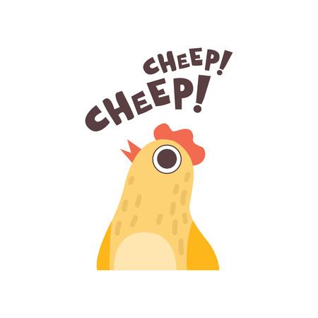 Chick Cheeping, Cute Cartoon Bird Making Cheep Sound Vector Illustration