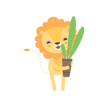 Cute Lion Holding Flower Pot with Houseplant, Funny African Animal Cartoon Character Vector Illustration Illustration