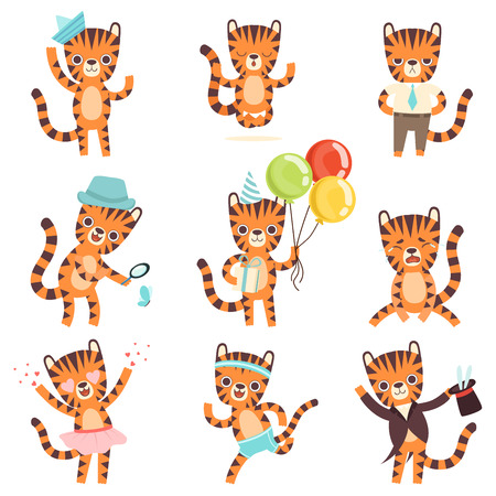 Cute Little Tiger in Different Situations Set, Adorable Wild Animal Cartoon Character Vector Illustration