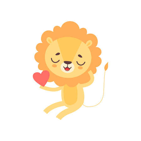 Cute Lion Holding Red Heart, Funny African Animal Cartoon Character Vector Illustration Illustration