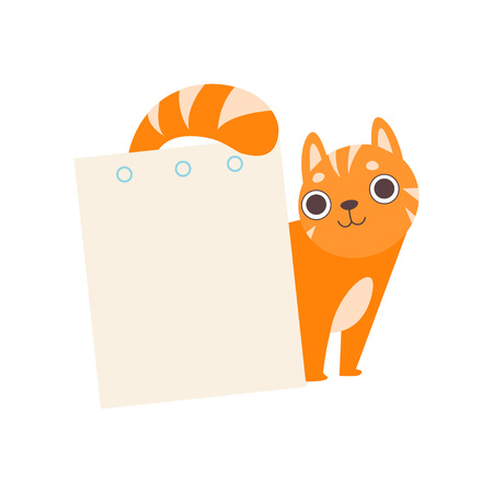 Cute Red Cat with Empty Sheet of Paper, Adorable Cartoon Animal with Blank Sign Board Vector Illustration Çizim