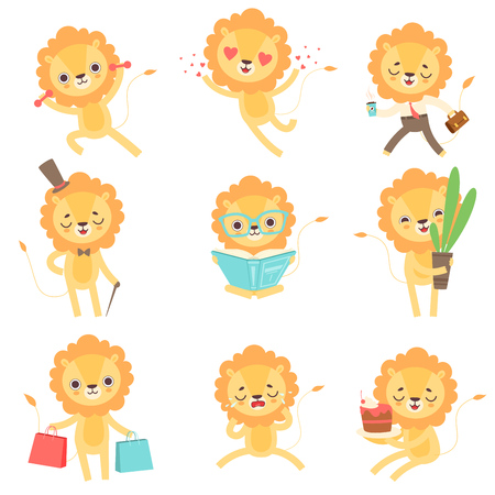 Cute Little Lion Set, Funny African Animal Cartoon Character in Different Situations Vector Illustration