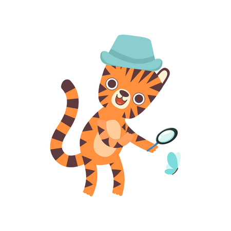 Cute Little Tiger Wearing Panama Hat Looking Through Magnifying Glass at Butterfly, Adorable Wild Animal Cartoon Character Vector Illustration Иллюстрация