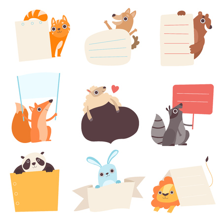 Cute Animals Holding Empty Banners Set, Funny Cartoon Cat, Dog, Bear, Fox, Sheep, Raccoon, Panda, Rabbit, Lion with Blank Sign Boards Vector Illustration  イラスト・ベクター素材