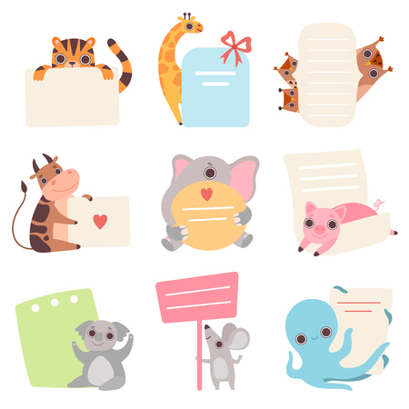 Cute Animals Holding Empty Banners Set, Funny Cartoon Tiger, Giraffe, Owlets, Cow, Elephant, Piglet, Koala Bear, Mouse, Octopus with Blank Sign Boards Vector Illustration  イラスト・ベクター素材