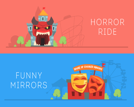 Horror Ride and House of Crooked Mirrors Banners Set Vector Illustration 向量圖像