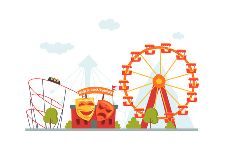 Amusement Park, House of Crooked Mirrors, Roller Coaster and Ferris Wheel Vector Illustration
