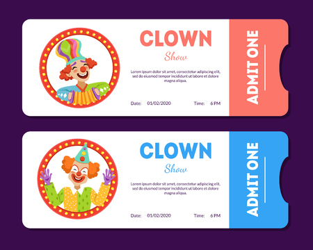 Clown Show Tickets Set, Circus Cards Templates with Funny Clowns Vector Illustration Standard-Bild - 119481624