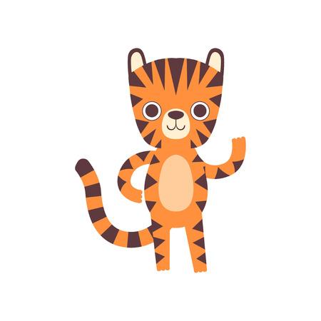 Cute Little Tiger Waving its Paw, Adorable Wild Animal Cartoon Character Vector Illustration Illustration