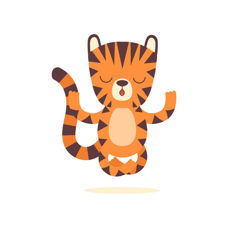 Cute Little Tiger Meditating in Lotus Position, Adorable Wild Animal Cartoon Character Vector Illustration