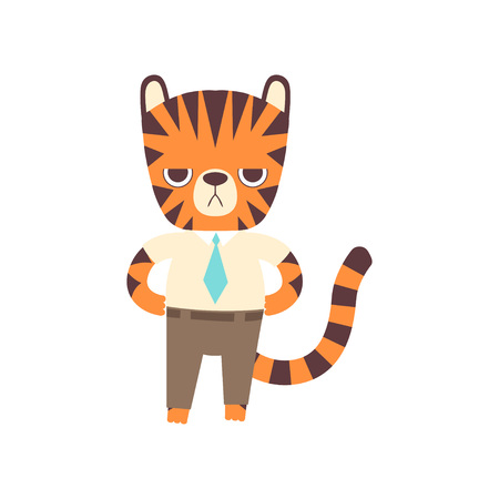 Cute Little Tiger Businessman Standing Confidently, Adorable Wild Animal Cartoon Character Vector Illustration Ilustração
