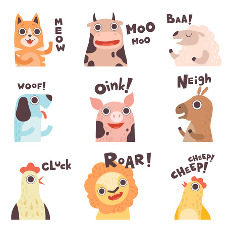 Cute Cartoon Farm Animal Making Sounds Set, Cat, Cow, Sheep, Dog, Pig, Horse, Hen, Lion, Chick Saying Vector Illustration Illustration