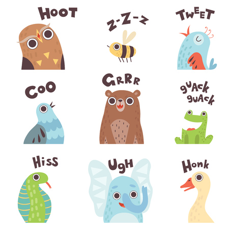 Cute Cartoon Farm Animal Making Sounds Set, Owl, Bee, Bird, Pigeon, Bear, Frog, Snake, Elephant, Goose Saying Vector Illustration
