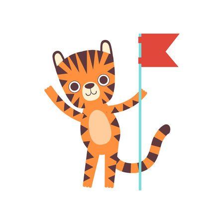 Cute Little Tiger Standing with Red Flag, Adorable Wild Animal Cartoon Character Vector Illustration Illustration