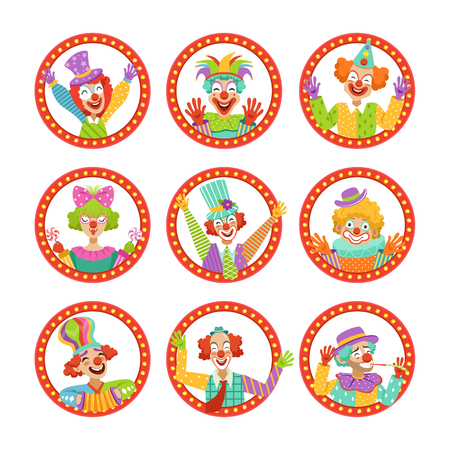 Clown Faces Set, Funny Circus Characters Vector Illustration 向量圖像