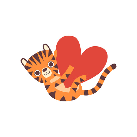 Cute Little Tiger Holding Big Heart, Adorable Wild Animal Cartoon Character Vector Illustration