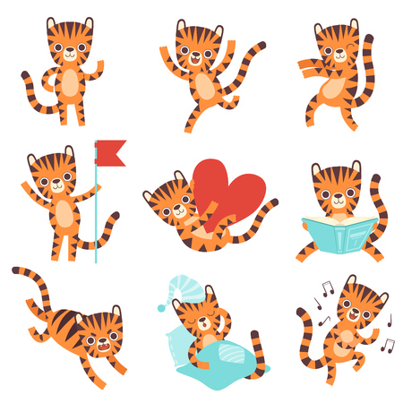 Cute Little Tiger in Different Situations Set, Funny Adorable Wild Animal Cartoon Character Vector Illustration