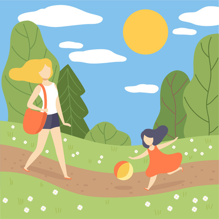 Mother and Her Daughter Walking in Park, Young Woman And Girl on Summer Season Background Vector Illustration