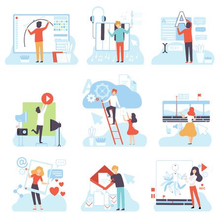People Creating Digital Content Set, Technology Process of Software Development, Social Media Marketing Vector Illustration on White Background. Illustration