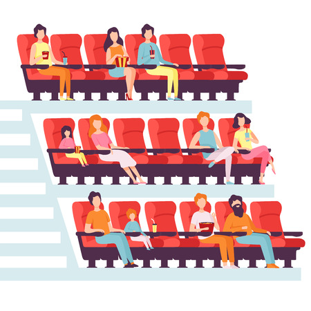 People Sitting in Cinema Hall, Men and Women Watching Film, Eating Popcorn and Drinking Soda in Movie Theater Vector Illustration on White Background. Vettoriali
