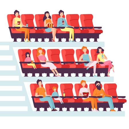 Personas sentadas en la sala de cine, hombres y mujeres viendo películas, comiendo palomitas de maíz y bebiendo refrescos en la ilustración de Vector de cine sobre fondo blanco. Ilustración de vector