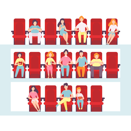 People Sitting in Cinema Hall, Men, Women and Children Watching Film, Eating Popcorn and Drinking Soda in Movie Theater Vector Illustration on White Background.