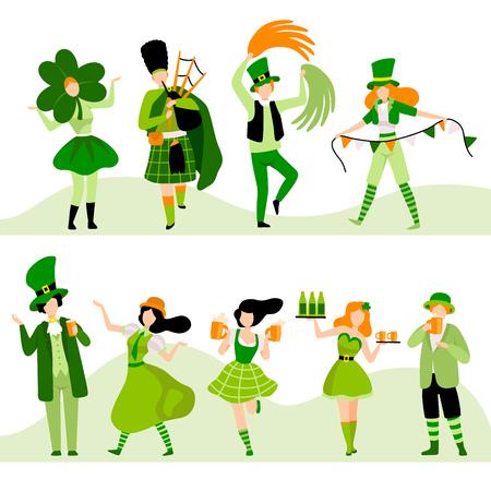 People in Green Festive Costumes Celebrating Saint Patrick Day Vector Illustration on White Background. Stock Illustratie
