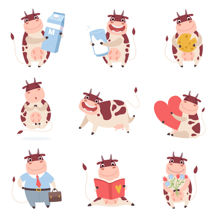 Cute Funny Cow Characters Set, Cheerful Farm Animal in Different Situations Vector Illustration on White Background.
