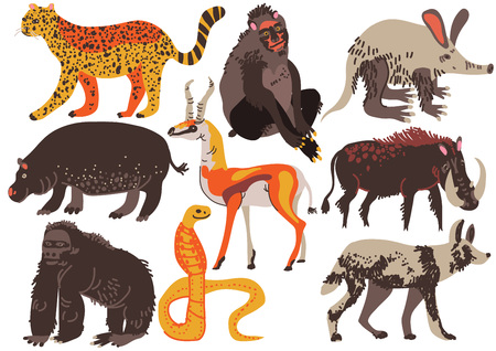 African Animals Set, Hippopotamus, Cheetah, Monkey, Antelope, Gorilla, Ssnake, Warthog Aaardvark Hyena Vector Illustration on White Background