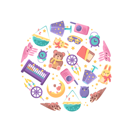 Goods for Babies in Circular Shape, Baby Shop Design Element Vector Illustration on White Background.